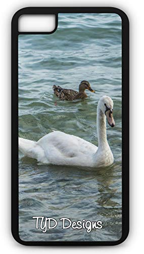 iPhone 7 Plus 7+ Case Swan Duck Duckling Swimming Webbed Feet Fish Eater Customizable TYD Designs in Black Rubber