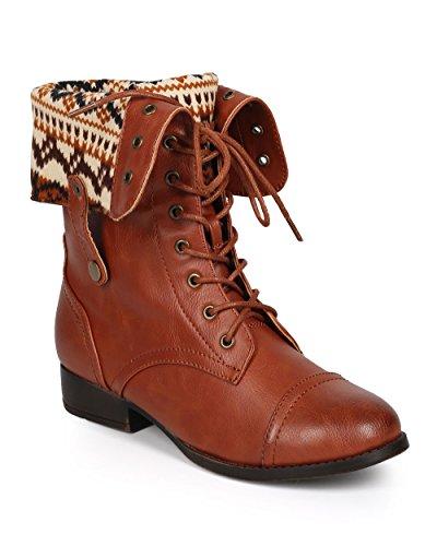 DBDK Women Distressed Leatherette Tribal Fold-Over Combat Boot CI81 - Cognac Leatherette (Size: 10)