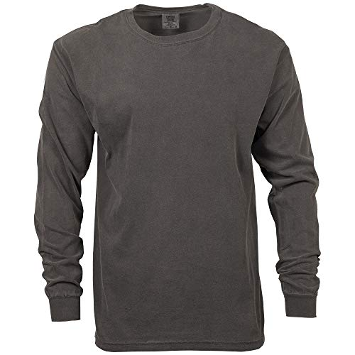 (Comfort Colors Men's Adult Long Sleeve Tee, Style 6014, Pepper, Small )
