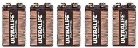 Five  Ultralife 9v Long Life Lithium Battery