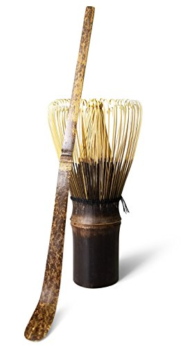 Purple Bamboo Matcha Green Tea Whisk Chasen 100 Prong with Chashaku Scoop for Japanese Tea Ceremony and Everyday Use (Tea Bamboo Whisk)