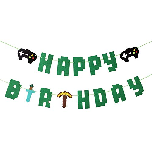 Awyjcas Video Game Happy Birthday Banner Gaming Party