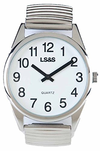 - Divine Medical Low Vision Watch, White Face - Silver Expansion Band