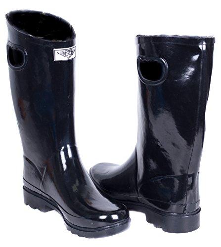 Botas De Lluvia De Goma Forrada De Piel Sintética Cálida Para Mujer Short Black W / Handles