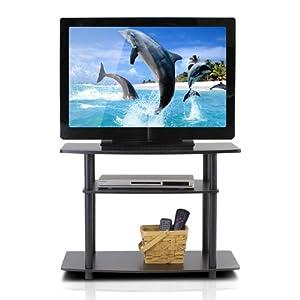 FURINNO Turn-N-Tube 3-Tier TV Stand, Espresso/Black