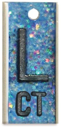 X-Ray Markers, Personal Touch Elite Style - Light Blue Glitter, 2-3 Initials, LEFT ONLY, L 5/8'', Vertical