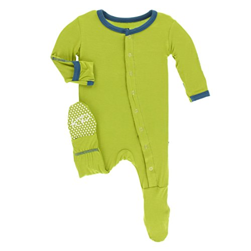 KicKee Pants Little Boys Solid Footie with Snaps - Meadow with Twilight, 18-24 Months ()