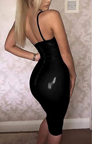 Pu Moda Mini Spalline Del Pacchetto Glamorous Casual Senza Smanicato Estivi Eleganti Profondo Donna Monocromo Nero Aderente Vintage Vestiti Semplice Pelle Dell'anca Vestito V DEe2bWH9IY
