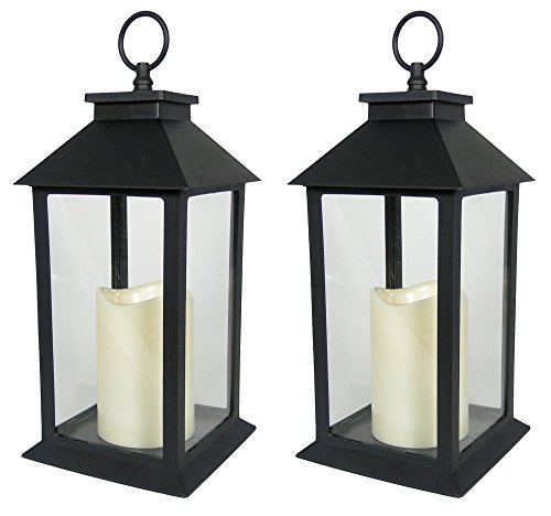 (Black Decorative LED Lantern - LED Flickering Flameless Pillar Candle with 5 Hour Timer Included - Indoor/Outdoor Lantern - Set of 2-13
