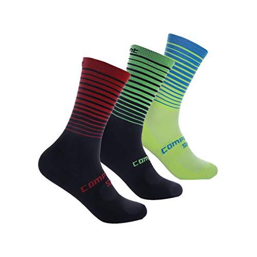 Compressprint Cycling Socks 3 to 4 Pairs Sports Socks Compression Running Socks Gym Performance (Assort 1, 3Pairs)