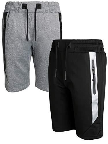 XS Sport Boys Athletic-Tech-Fleece Active Performance Shorts (2-Pack), Black/Grey Reflective Trim, Size Large'