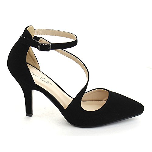 Bonnnibel Helga-2 Donna Chiusura Posteriore Cinturino Alla Caviglia Stiletto Tacco Pompe Nero / Argento
