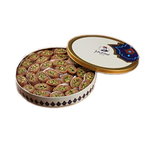 Muhtar Sweets Premium Quality Baklava Mabroumeh Pistachios Assortment (31.7 Oz Net) - Middle Eastern Petit Gourmet Sweets Gift Box - Arabic, Turkish, Syrian, Lebanese. (Best Nuts For Baklava)