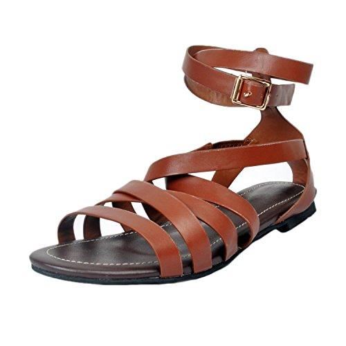 EKS - Sandalias de vestir de Material Sintético para mujer marrón