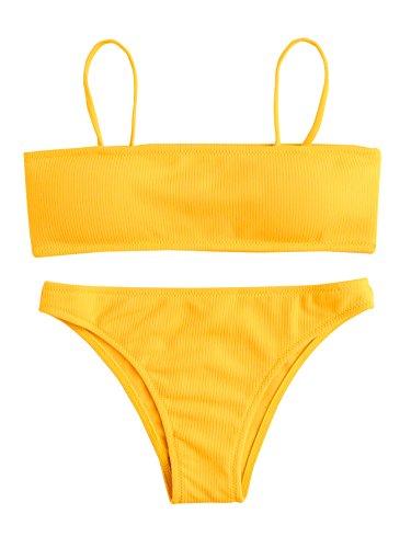SweatyRocks Women's Sexy Bikini Set Removable Strap Wrap Padding Ribbed Swimwear Set Yellow - No Bikini Strap