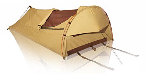 White Duck Outdoors 1-Person Khaki Canvas Swag Tent with Comfy Mattress and High Tensile Alloy Poles