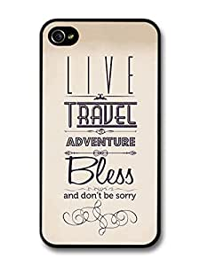 Live Travel Adventure Bless Jack Kerouac Writer Life Inspirational Quote For Apple Iphone 4/4S Case Cover