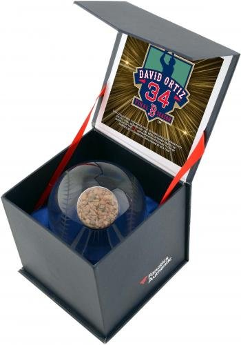 Fanatics Authentic Certified David Ortiz Boston Red Sox Crystal Baseball Filled with 2016 Final Season Game Used Dirt