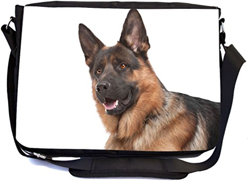German Bag - Rikki Knight German Shepherd Dog Design COMBO Multifunction Messenger Laptop Bag - with padded insert for School or Work - includes Wristlet & Mirror