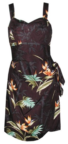 Paradise Found Womens Bamboo Paradise Side Tie Sarong Dress in Black - - Bamboo Button Wraps