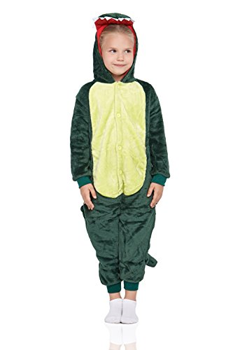 Kids Dinosaur Kigurumi Animal Pajamas Onesie Plush Onsie Dragon Cosplay Costume (Medium, Green)