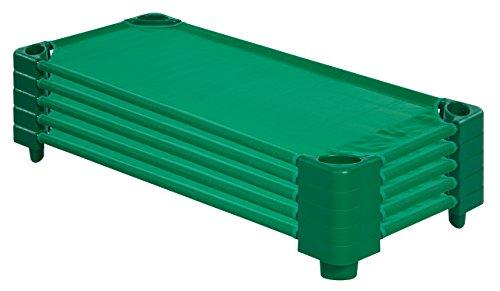 ECR4Kids Stackable Assembled Standard Kiddie Cots (5 Pack), Green