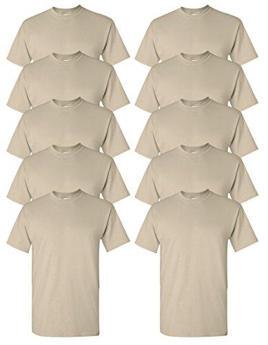Gildan mens Ultra Cotton 6 oz. T-Shirt(G200)-SAND-L-10PK