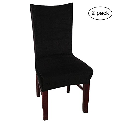Velvet Dinning Room Stretch Chair Covers High Back Decor Dining Seat Slipcovers Protectors, Armless, Black Set of 2