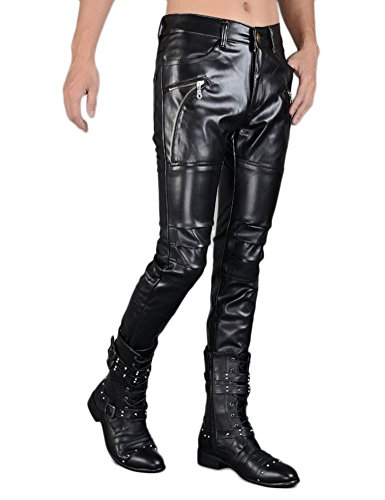 Idopy Men`s Rock Punk Hip Hop Faux Leather Motocycle Pants (30W x 40L, 149# Black) by Idopy (Image #3)