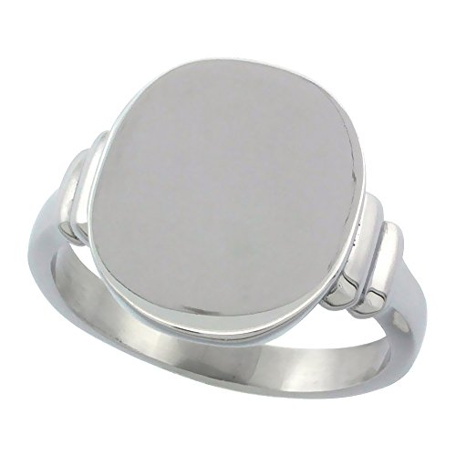 Surgical Stainless Steel Medium Signet Ring Solid Back Flawless Finish 3/8 inch, size 9 - Ladies Personalized Signet Ring