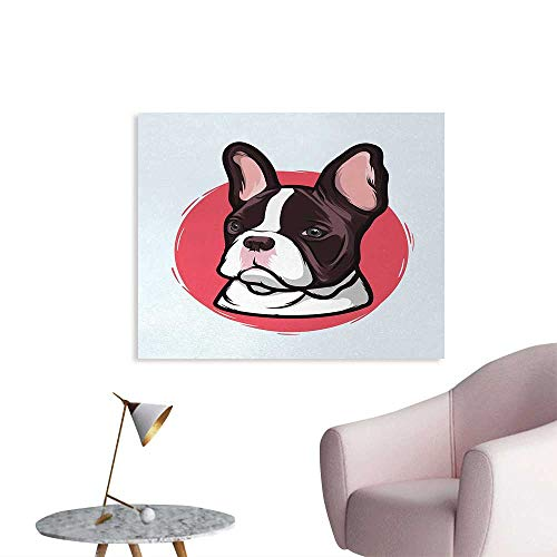 Tudouhoho Animal The Office Poster Cute French Bulldog Artistic Portrait Hipster Purebred Creature Pet Illustration Mural Decoration Pink Brown W28 xL20