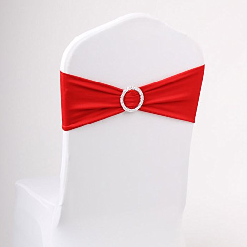 LOVWY 20 Colors Optional 10 PCS Spandex Stretch Chair Sashes Bows for Wedding Party Engagement Event Birthday Graduation Meeting Banquet Decoration (Red)