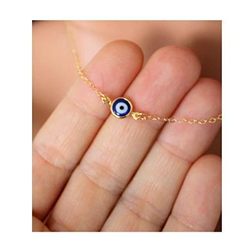 - RUIZHEN Lucky Evil Eye Necklaces Blue Eyes Choker Necklace (Gold)