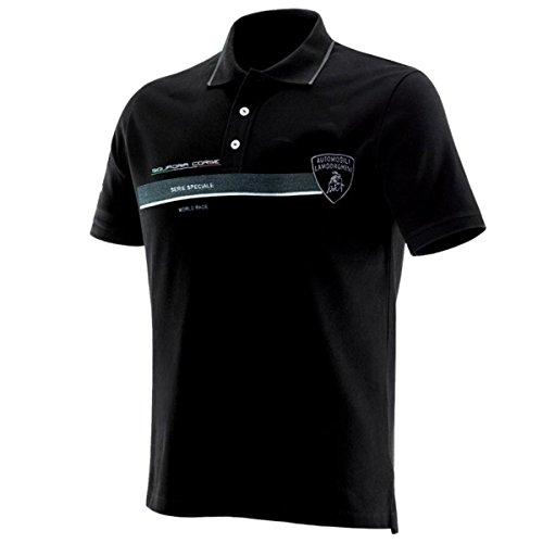 Price comparison product image Lamborghini Squadra Corse Pilota Black Polo Shirt (Large)