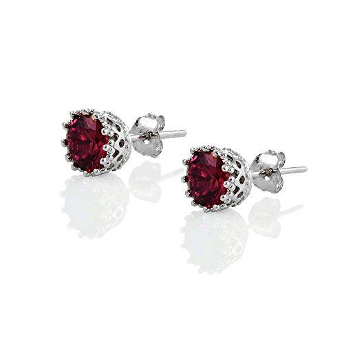 Buy red stud earrings for women sterling silver