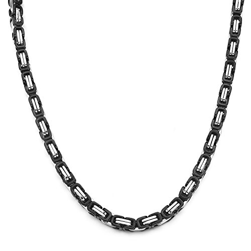 HolyFast 4-8mm Wide 16-36IN Stainless Steel Necklace Byzantine Necklace Black Silver Tone Men (Vintage Silver Tone Chain Necklace)