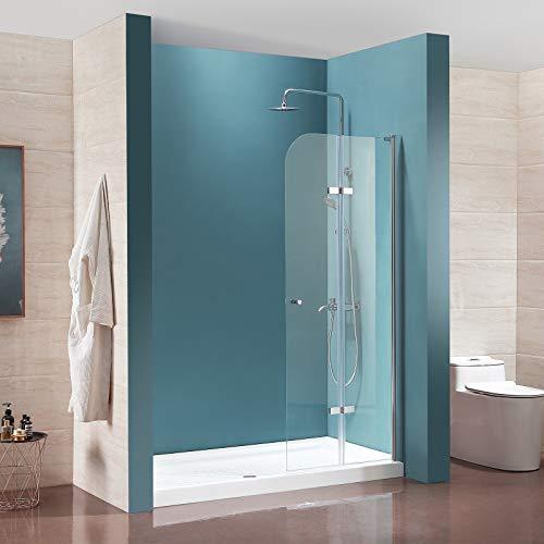 Mecor Fold Frameless Bi-Fold Shower Door,29 W x 72 H 1 4 Clear Tempered Glass Door,Chrome Finish