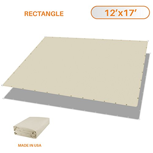 Sunshades Depot Tang 12 x17 Waterproof Rectangle Sun Shade Sail 220 GSM Beige Straight Edge Canopy with Grommet UV Block Shade Fabric Pergola Cover Awning Customize Available