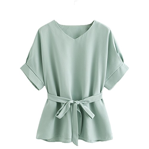 Blouse Mint - Milumia Women's V Neckline Self Tie Short Sleeve Blouse Tops Mint Small