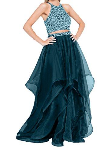 A Blau Abschlussballkleider Ballkleider Rock Steine Gruen Linie Partykleider Abendkleider Zwei Damen Pailletten Teilig Charmant xYUwz07qn