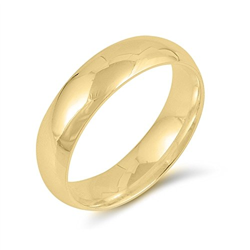 Yellow Gold-Tone Plated 925 Sterling Silver 5MM Plain Eternity Wedding Ring