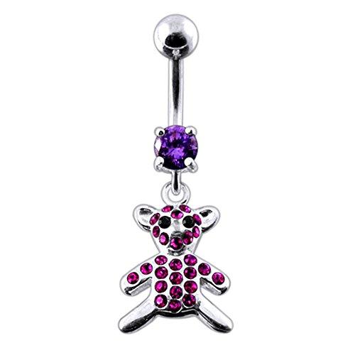 Gemstone Teddy Bear Charms - Purple CZ Crystal Gemstone Stylish Teddy Bear Dangling 925 Sterling Silver Belly Ring Body jewelry