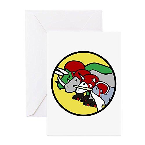(CafePress - Horned Warrior Friends Roller Derby (Unicorn, Narw - Greeting Card, Note Card, Birthday Card, Blank Inside Glossy)