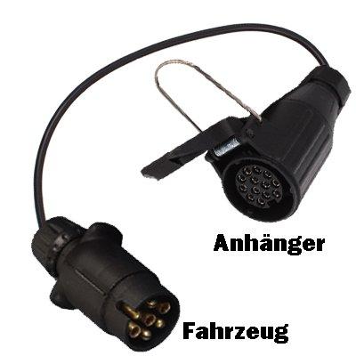 Kurzadapter Adapter Kabeladapter Fahrzeug 7-polig auf Anh/änger 13-polig Steckadapter