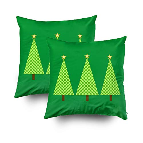 EMMTEEY Home Decor Throw Pillowcase for Sofa Cushion Cover,lime green polka dot modern christmas trees Decorative Square Accent Zippered and Double Sided Printing Pillow Case Covers 16X16Inch,Set of 2 (Best Modern Christmas Tree)