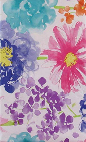 Summer Fun by Elrene Watercolor Wildflowers Abstract Vinyl Flannel Back Tablecloth with Zipper Umbrella Hole (70