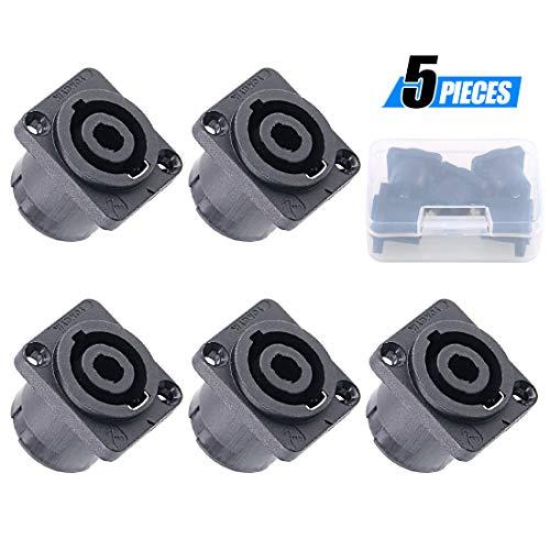 (Glarks 5 Pack 4 Pole Square (Rectangle) Female Panel Mount Socket Twist Lock Speaker Compatible with Neutrik Speakon NA4LJ, NA4LJX, NL4MP, NL4MPR, NL4FC, NL4FX, NL4 & NL2 Series, NL2FC)