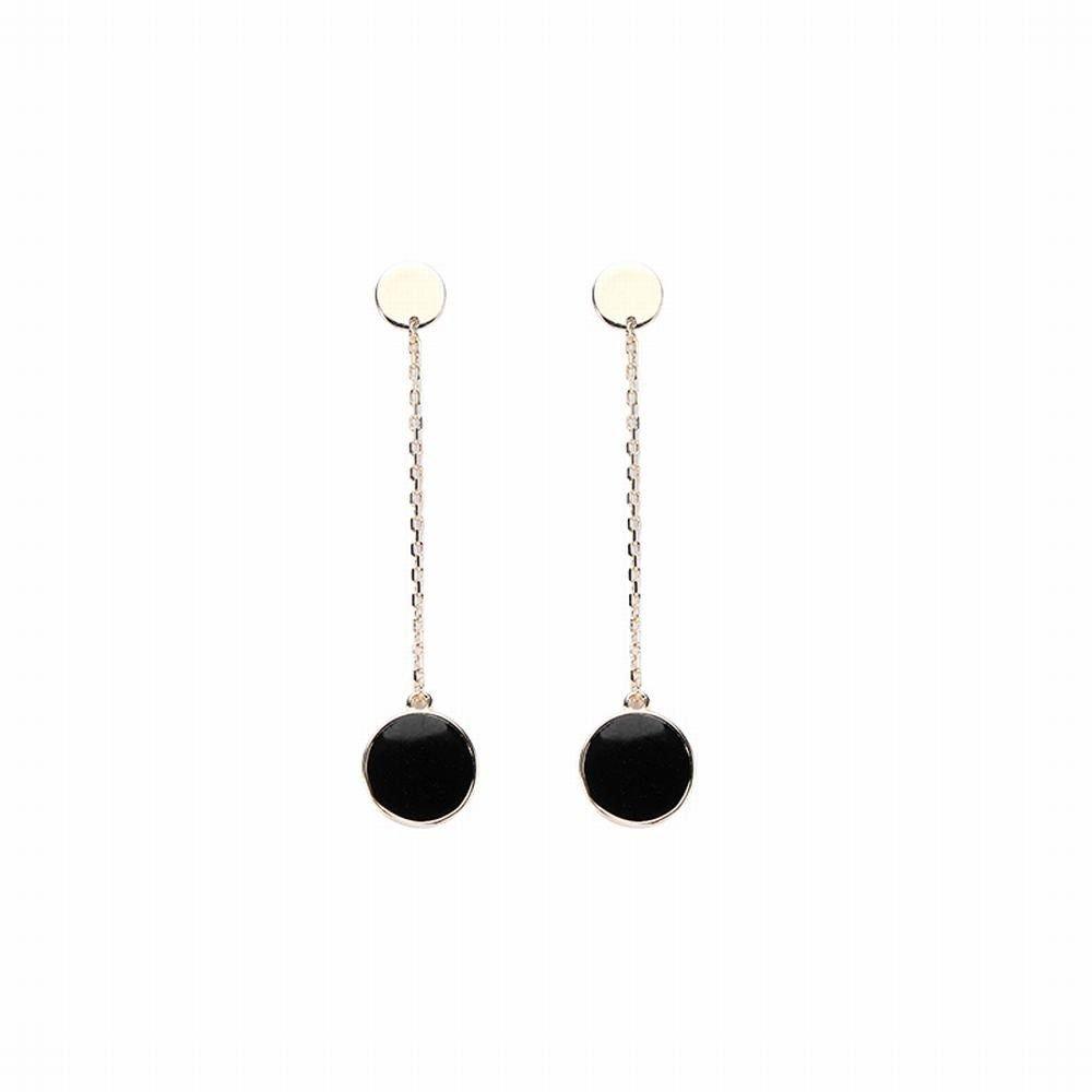 Ling Studs Earrings Hypoallergenic Cartilage Ear Piercing Simple Fashion Earrings Ear Jewelry Earrings Long Earrings Short Hair 925 Silver Black