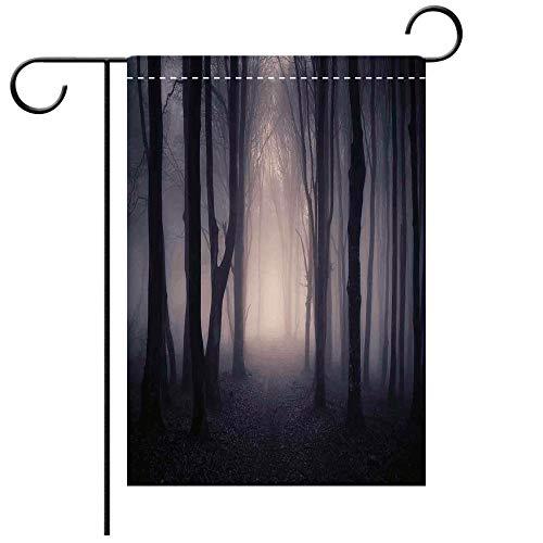 (Artistically Designed Yard Flags, Double Sided Farm House Decor Path Through Dark Deep in Forest with Fog Halloween Creepy Twisted Decorative Deck, patio, Porch, Balcony Backyard, Garden or)