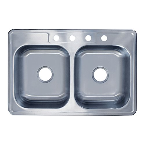33' x 22' x 8' Top Mount, 50/50 Double Bowl, 20 Gauge, Drop-In 304 Stainless Steel Kitchen Sink, 4 Holes
